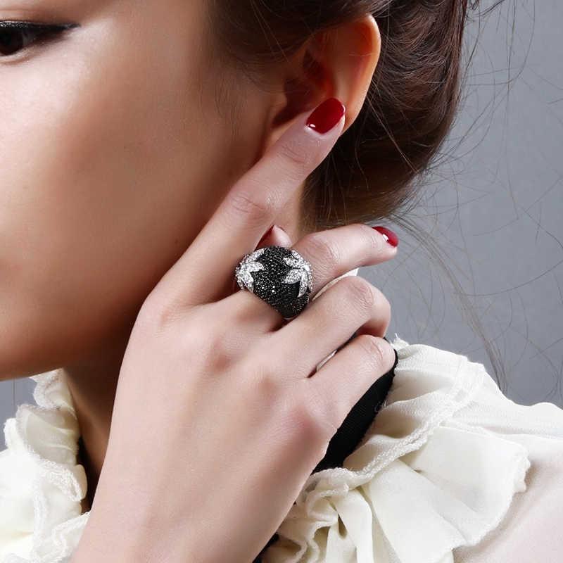 女性ブラックリングファッションジュエリー花ラインストーンリング女性のアクセサリー記念婚約パーティーリング