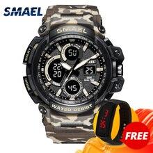 LED montres à Quartz de luxe SMAEL Cool hommes montre grandes montres horloge numérique armée militaire 1708 étanche Sport montres pour hommes
