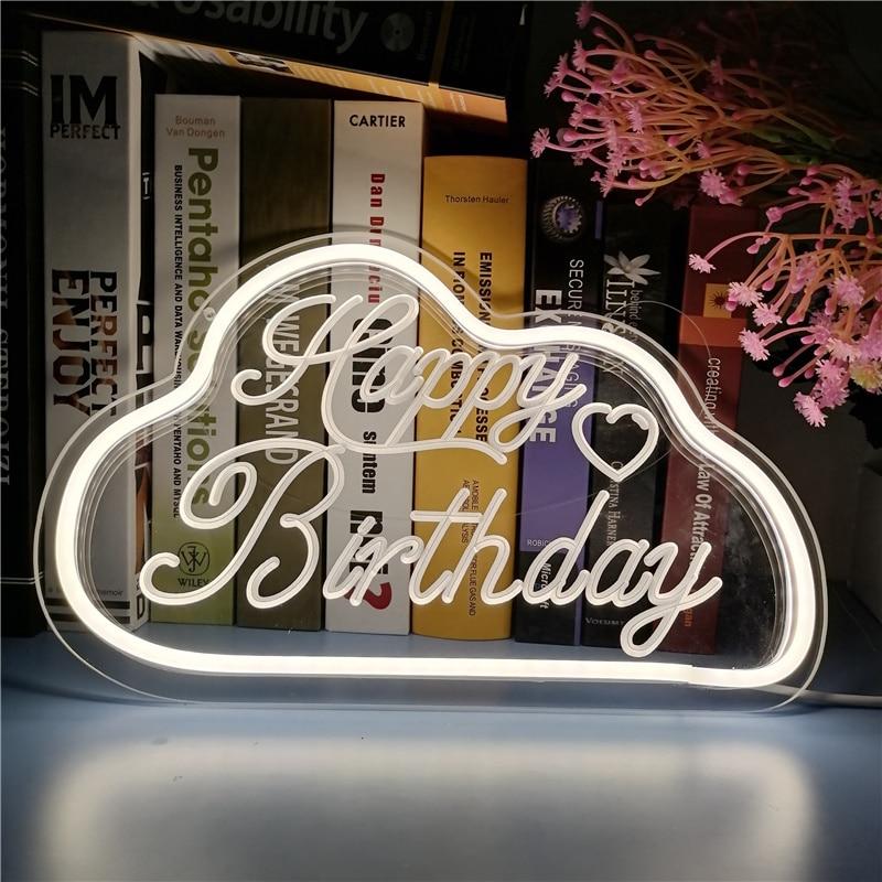 Happy Birthday Decoration Neon Sign Custom Led Light USB aesthetic banner on wall For Women Room Home Party mural Boy Girl Gift