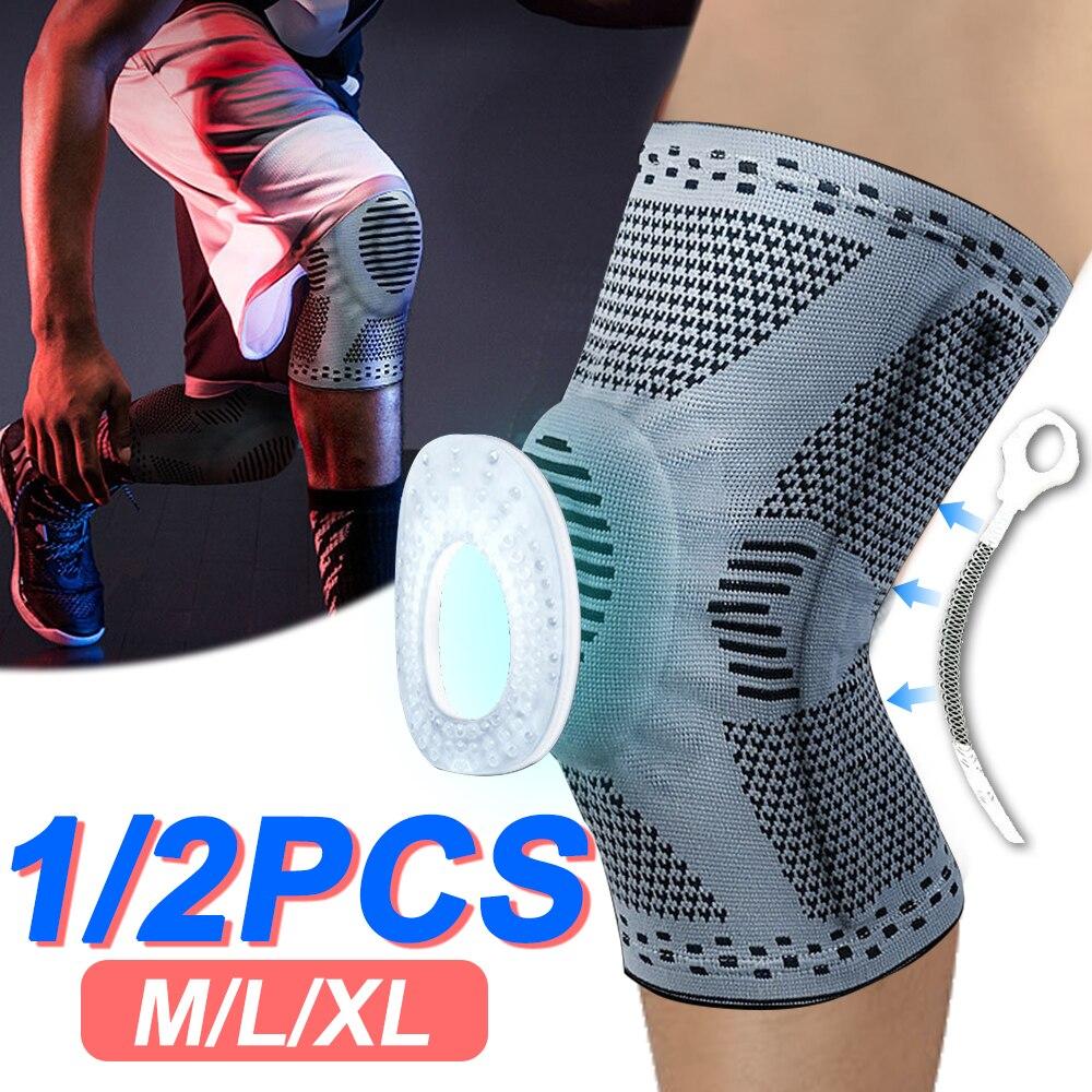 2 pièces genouillère rotule protecteur Silicone printemps genouillère basket-ball volley-ball Compression genouillère soutien sport genouillères