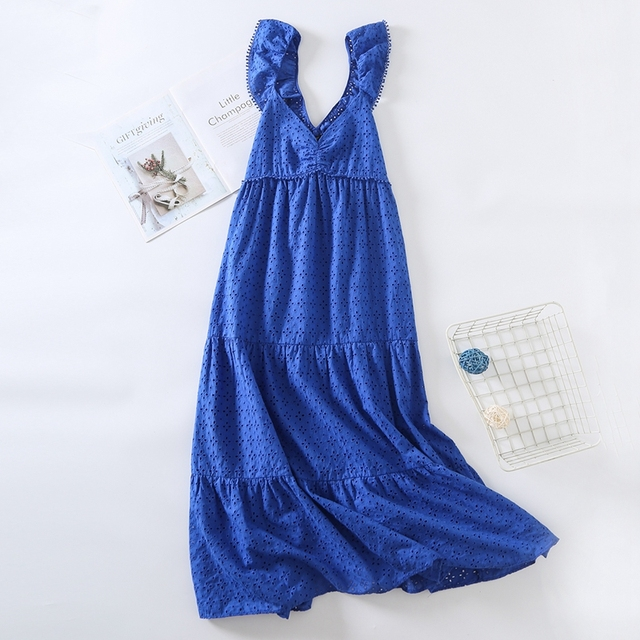 Tangada Women Blue Embroidery Romantic Midi Dress Strap Ruffles Sleeveless 2021 Fashion Lady Elegant Dresses Vestido 6H19 6