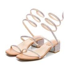 Женские сандалии с острым носком украшенные стразами маленькие