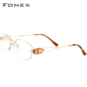 Image 3 - Fonx 와이어 티타늄 무테 안경 여성 Ultralight 럭셔리 다이아몬드 트림 처방 광학 안경 프레임 안경 8511