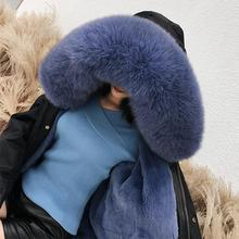 Outwear women 2019 new female detachable rex rabbit fur liner fox collar coat long Trench Big Thick warm