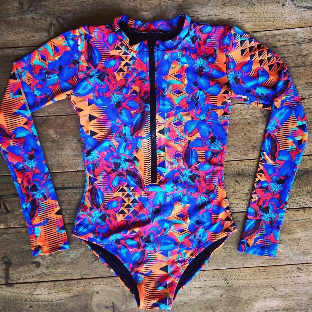 Цельный купальный костюм с принтом, одежда для плавания с длинным рукавом, женский купальный костюм, ретро купальник, винтажный цельный купальный костюм для серфинга - Color: Orange