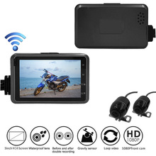 цена на Motorcycle DVR Wifi-Camera HD 1080P GPS Dash Cam Moto Waterproof Dual-track Lens Front Rear View Video Recorder 140 Degree Angle