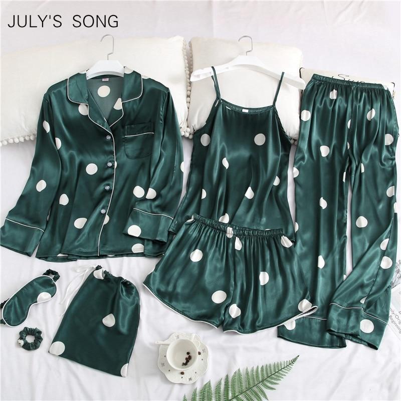 JULY'S SONG 2019 Women 7 Pieces Pajamas Sets Stain Faux Silk Pajamas Women Sleepwear Sets  Autumn Winter Tops+Shorts+Shirt+Pants