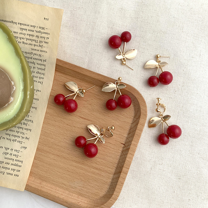 AOMU New Fashion Red Cherry Drop Earring Sweet Fruit Long Crystal Earrings for Women Lady Gift Jewelry Tassel Dangle Accessories