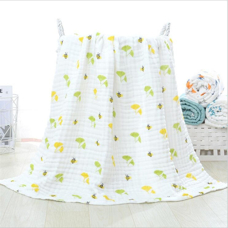 105cm*105cm Soft Breathable 6 layers Gauze Baby Blankets Swaddling For Babies Wrap 100% Cotton Infants Baby Muslin Blankets | Happy Baby Mama