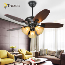 Nordic Brown Vintage Ceiling Fan With Lights Pull rope switch Ventilador De Techo Fan LED Light Bedroom ceiling fans cheap TRAZOS 10kg iron Wall Control KBS-4224 42inch 3 years Wood LED Bulbs Modern Touch On Off Switch