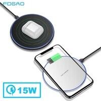 FDGAO 15W Qi Drahtlose Ladegerät Für Samsung S9 S10 Hinweis 10 9 QC 3 0 10W Schnelle Lade Pad für iPhone 11 Pro XS Max XR X 8 AirPods