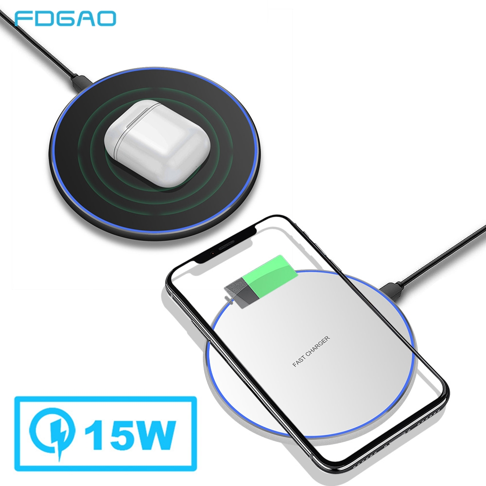 FDGAO 15W Qi Wireless Charger For Samsung S9 S10 Note 10 9 QC 3.0 10W Fast Charging Pad for iPhone 11 Pro XS Max XR X 8 AirPods|Wireless Chargers| |  - title=