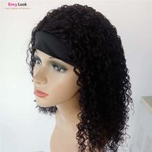Human-Hair Wig Women Brazilian Headband with 150%Density for Curly Envy-Look Kinky Full-Machine