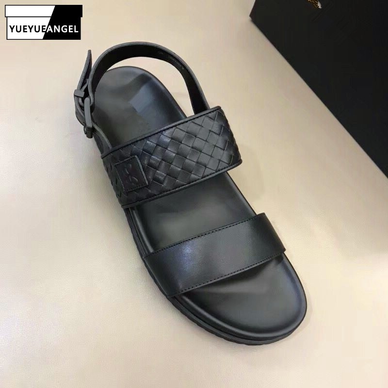 Black Mens Summer Beach Sandals Handmade Weave Genuine Leather Flats Sandals Slippers 2019 New Buckle Casual Comfort Shoes Male
