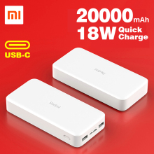Xiaomi Redmi power Bank 20000 мАч портативное зарядное устройство батарея с двойным USB выходом 18 Вт Max для мобильных телефонов iPhone Android usb type C in