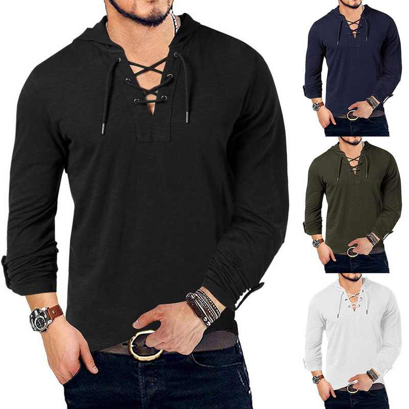 Nieuwe Mode Mannen Hooded Tee Lange Mouw Katoen Henley T-shirt Middeleeuwse Lace Up V-hals Outdoor Tee Tops Losse casual Solid Shirt