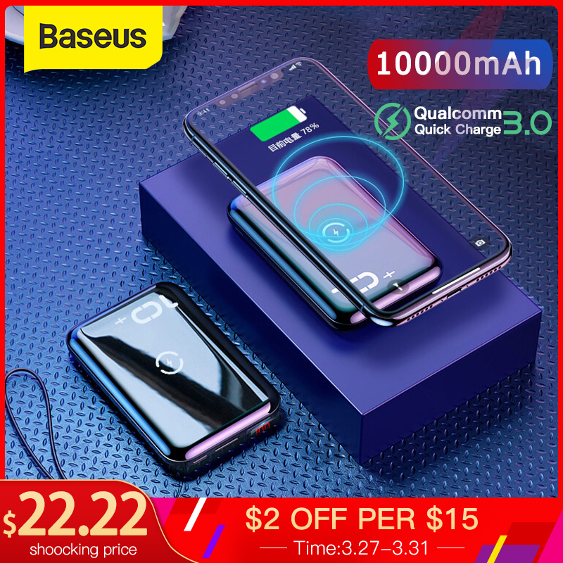 Baseus 10000mAh Power Bank Qi Wireless Charger Powerbank For Iphone Samsung PD QC3.0 Fast Charging Portable External Battery