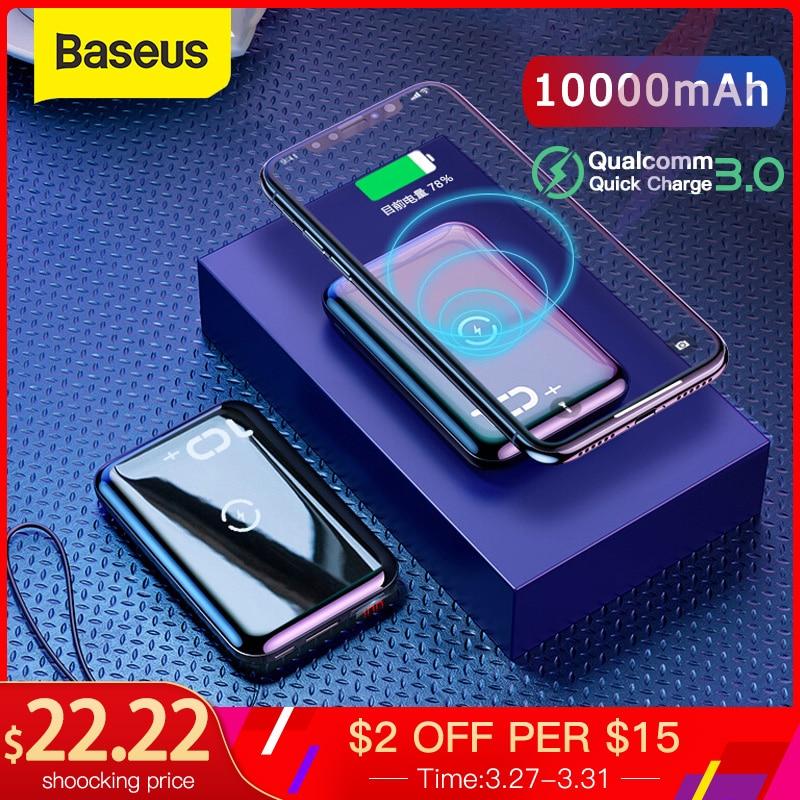Cargador inalámbrico Qi Baseus 10000mAh para Iphone Samsung PD QC3.0 batería externa portátil de carga rápida