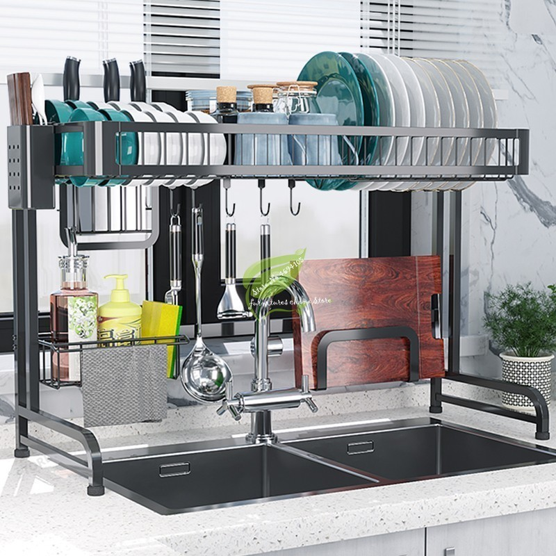 Metal Dish Drainer Sink Holder Strong Bearing Capacity Plate Rack Kitchen  Dryer Wall Hooks  Organizer Storage Shelf