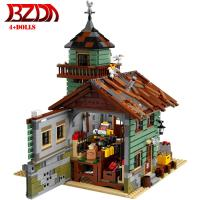 BZDA Seaside The Old Fishing Store 2286 PCS City Creator Street View Model Building Blocks Compatibl Bricks kids Toys gift
