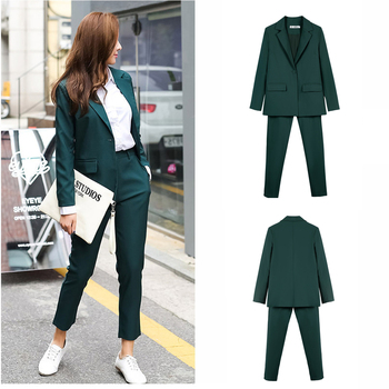 Work Pant Suits OL 2 Piece Set for Women Business Interview  Uniform Blazer and Pencil Pant Office Lady uniform business pant suits formal jacket and pant blazer set women office lady 2 two pieces suits uniform ka1089