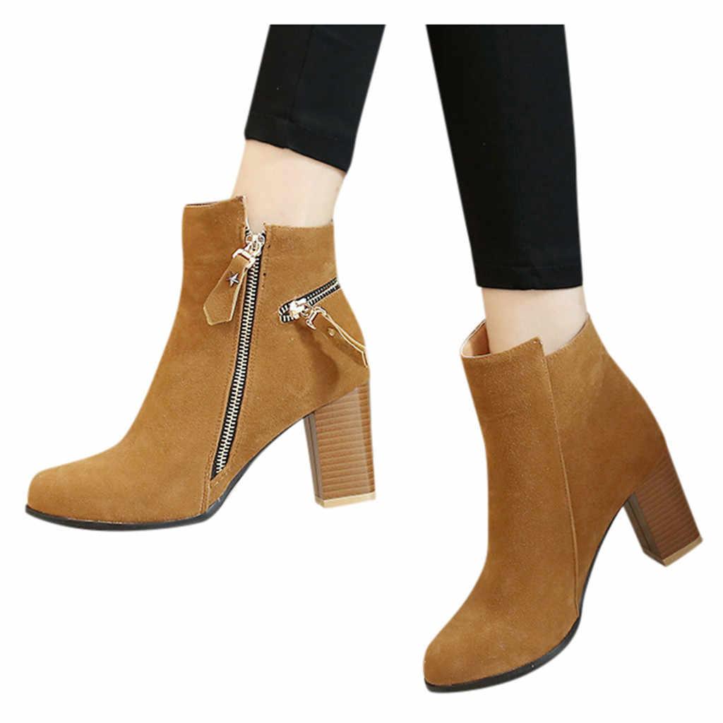 Bayan Martin Çizmeler Rahat Yuvarlak Ayak Fermuar Kalın Yüksek Topuk rahat ayakkabılar Iş Ayak Bileği Patik Chelsea Botas kar ayakkabıları