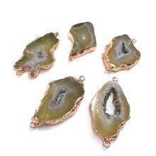 Кулон из натурального камня нестандартный желтый агатый соединитель