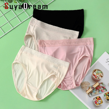 Women Silk Briefs 100% REAL silk Lace Panties Mid-rise underwear Healthy Underwear lingerie Pajamas 2019