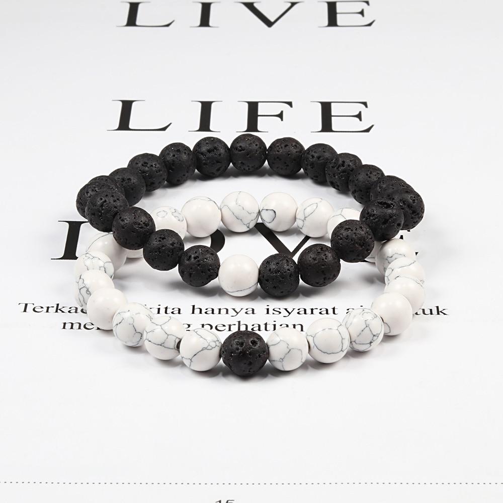 Set bracciale coppie distanza nero bianco pietra lavica naturale occhio di tigre perline braccialetti Yoga per uomo donna gioielli in corda elastica 2
