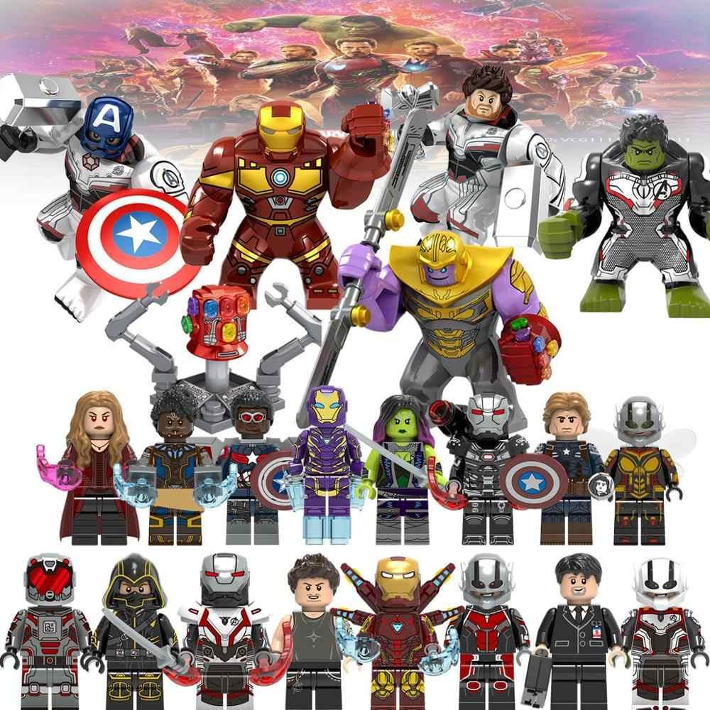 מארוול נוקמי סוף המשחק Legoed גיבורים על תאנסו Thor מלחמת מכונת קפטן אמריקה אבני בניין צעצוע X0263