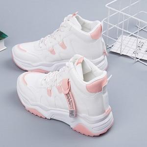 Image 3 - SWYIVY PU Chaussures Femme Chunky trampki dla kobiet obuwie 2020 wiosna wysokie góry kobiety białe buty oddychające buty damskie