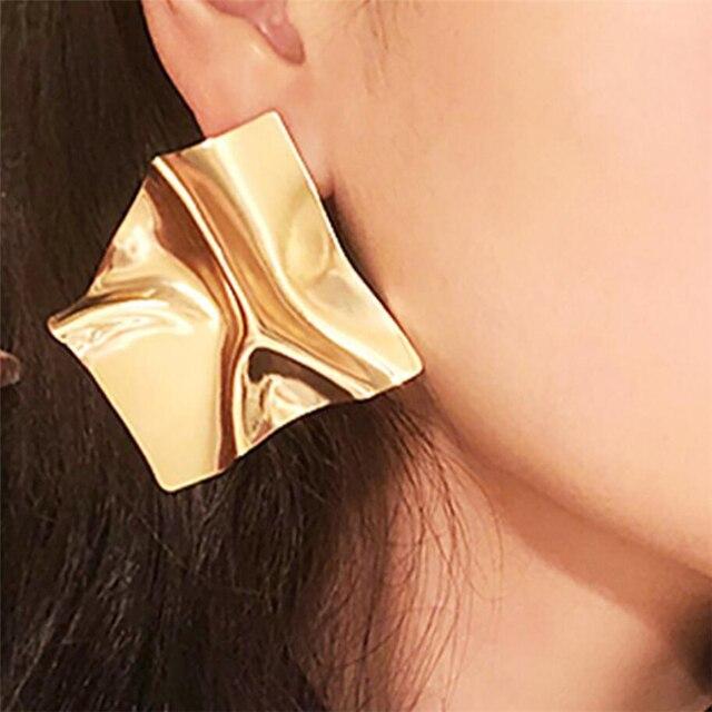 Vintage Earrings Large for Women Statement Earrings Geometric Gold Metal Pendant Earrings Trend Fashion Jewelry 4