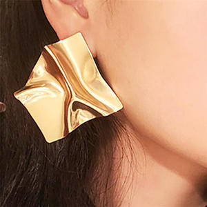 Vintage Earrings Large Geometric Fashion Jewelry Trend Metal Gold Women for Statement