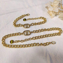 European and American classic retro 1:1 necklace and bracelet, luxury letter D jewelry set, high-quality gift for ladies