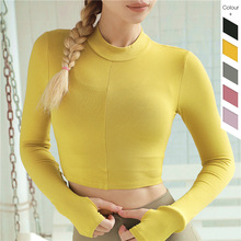 2019 Sport Yoga Shirt Longsleeve Crop Top Running Jacket Sports Tops Fitness Gym Clothing Workout Wear