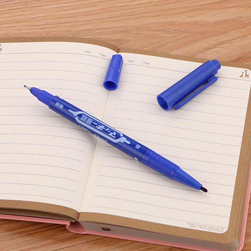 10 Buah/Banyak Permanen Paint Marker Pen Twin Tips Dua Kali Lipat Menuju Hook Line untuk CD DVD Cepat Kering Marker Papan pulpen 3 Warna