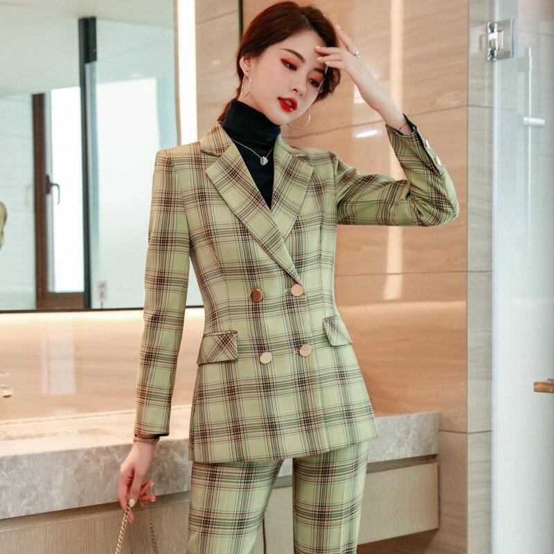 Women's office attire pantsuit professional clothes 2 piece work business suits blazer with pants suit for women  blazer set