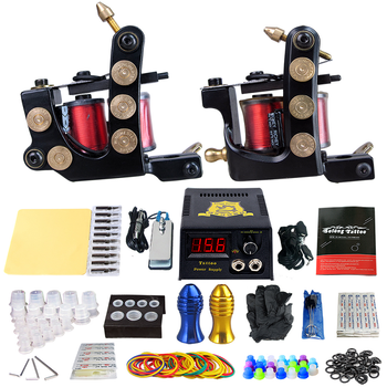 Complete Tattoo Machine Kit Set 2 Coils Guns Tattoo Sets Power Tattoo Beginner Grips Kits Permanent Makeup Machine for Tatto Art 2 tattoo machine guns power supply pigment inks sets body art permanent makeup professional tattoo set