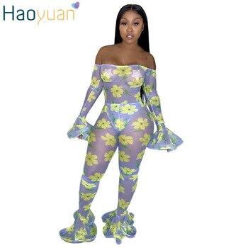 HAOYUAN mono transparente con estampado de malla de hombro de manga larga Bodycon Flare pantalones mamelucos 2019 otoño Sexy fiesta noche ropa