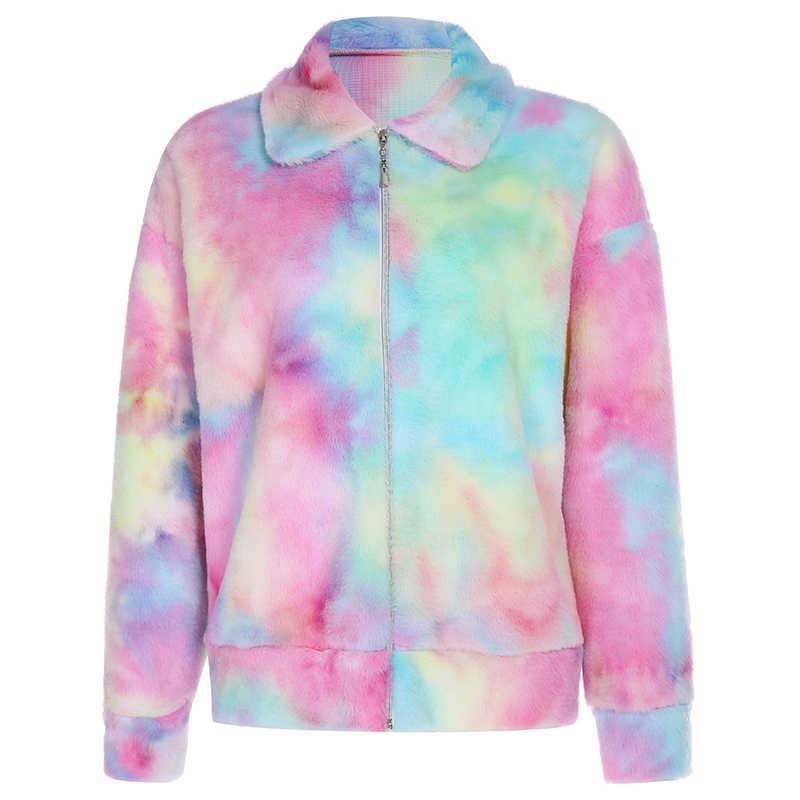 Rockmore tie dye hoodies moletom feminino plus size com zíper gola alta pullovers moletom coreano com capuz cortado femme outono