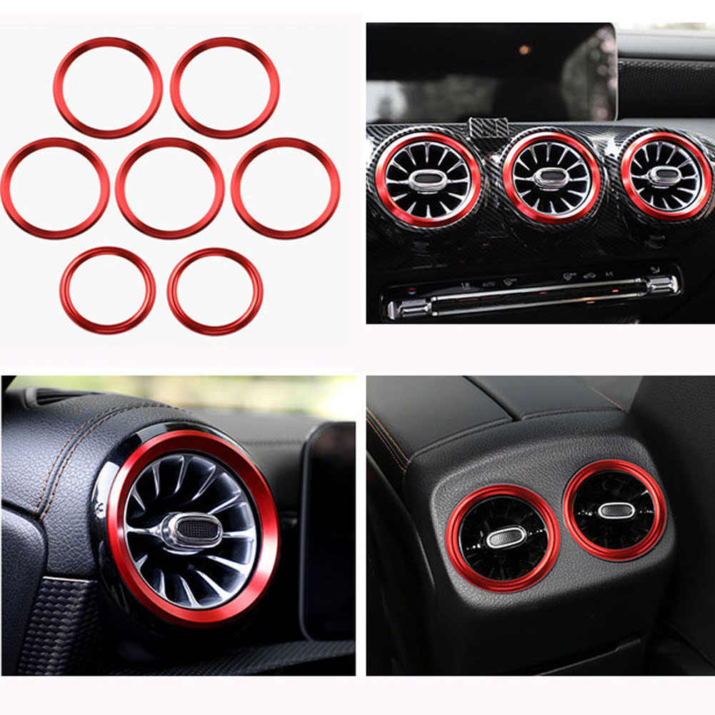 Super11Six Car Air Condition Air Vent Outlet Ring Cover Trim Compatible with Mercedes Benz A Class W177 V177 A180 A200 A220 A250 2019+ Center Console Interior,Blue