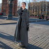 Korean Style Loose Oversized X-Long Women's Trench Coat Double-Breasted Belted Lady Cloak Windbreaker Spring Fall Outerwear Grey 2