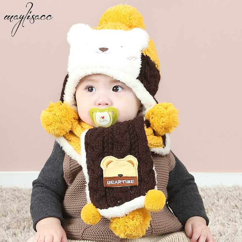 1-3 Years Old Children Baby Hats Scarves Set Knitted Suits Winter Cartoon Bears Headgear Cold-proof Ear-protecting Skullies Set
