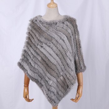 Fau Rabbit Fur Shawl Natural Real Knitted Poncho 1