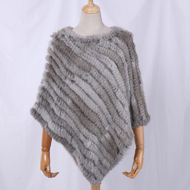 Fau Rabbit Fur Shawl Natural Real Knitted Poncho 1