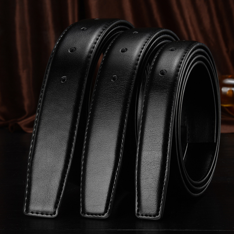 2.4 2.8 3.0cm 3.2 3.5 3.8cm Wide Belt No Buckle Unisex Automatic Buckle And Pin Buckle Genuine Leather Belt Body Without Buckle