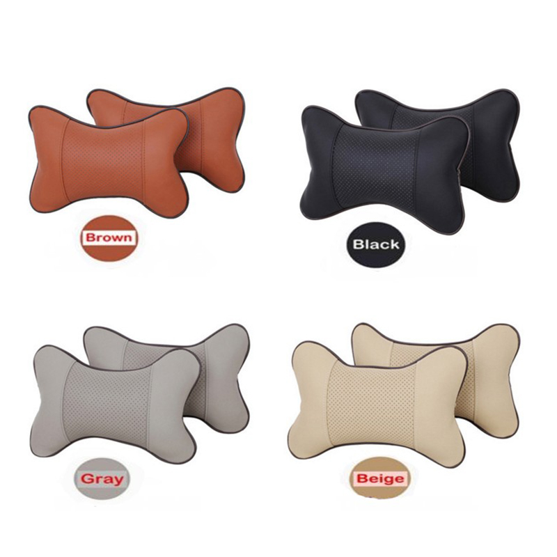 2 PCS Auto Safety Pillow Car Headrest Breathe Car Auto Seat Head Neck Rest Cushion Headrest Pillow Pad Black Orange Beige Gray