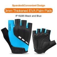 IF19285-Blue-INBIKE Summer Men Women Half Finger Shockproof Cycling Gloves