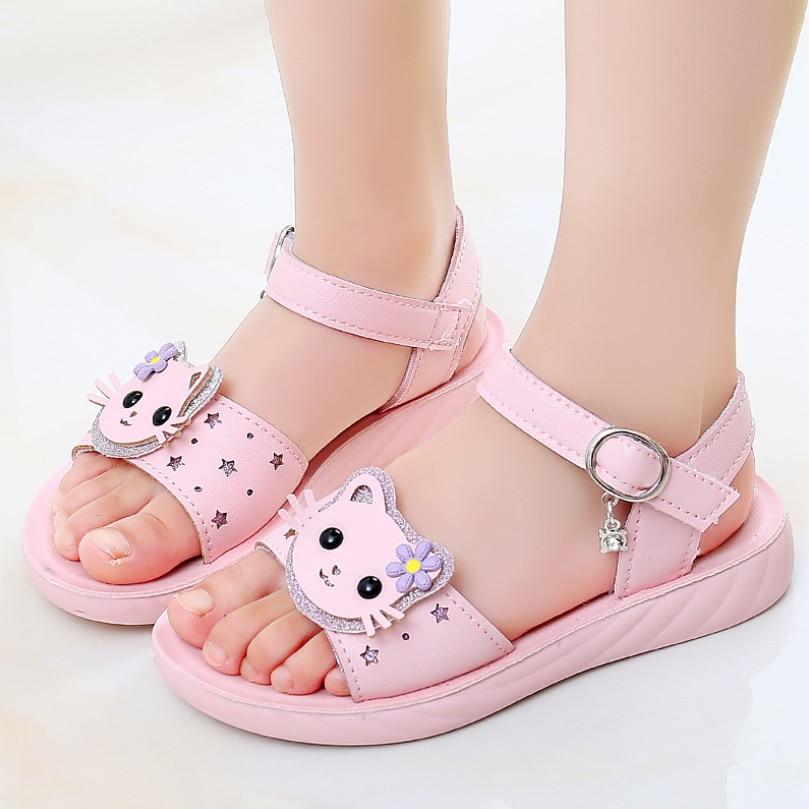 Girls Sandals Summer Cat Princess Sandals Party Shoes Toddler Girl Beach Sandal Open Toe Flower Kids Flat Shoes