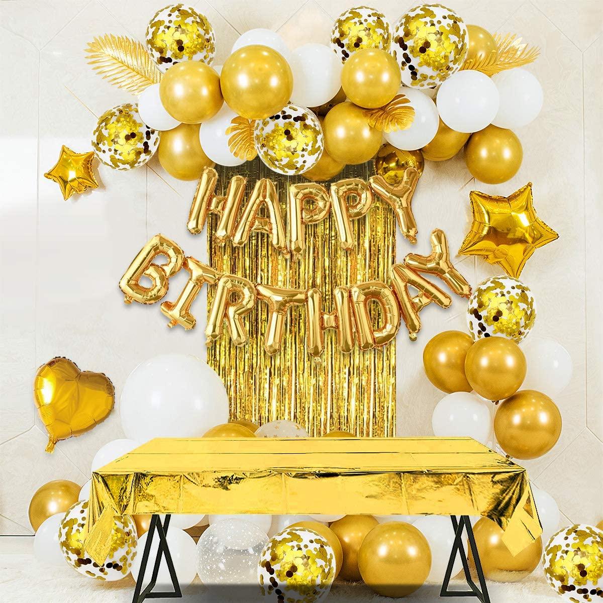 Fête d'anniversaire décoration joyeux anniversaire bannière frange rideau nappe coeur étoile confettis ballons pour fille garçon enfants adultes